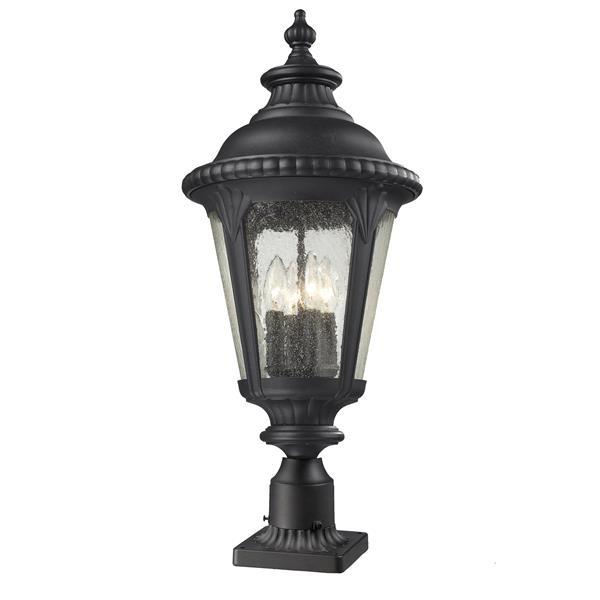 """Luminaire extérieur sur socle Medow, Noir, 11.88""""x28"""""""