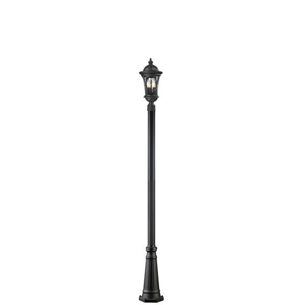 """Luminaire extérieur sur poteau Doma, Noir, 10""""x113.25"""""""