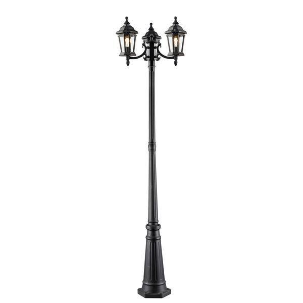 Luminaire extérieur sur poteau, 3 lumières Melbourne, Noir