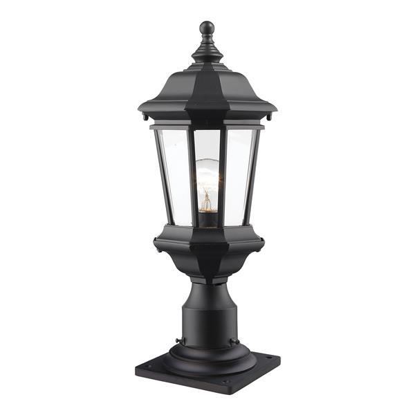 Z-Lite Melbourne Outdoor Pier Mount Light - Black - 8-in x 20.25-in