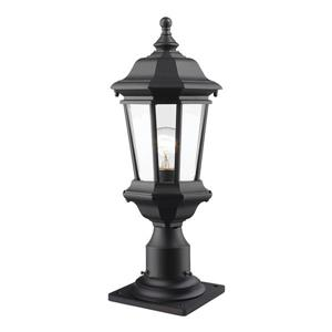 Z-Lite Melbourne Outdoor Pier Mount Light - Black - 8-in x 20.25-in