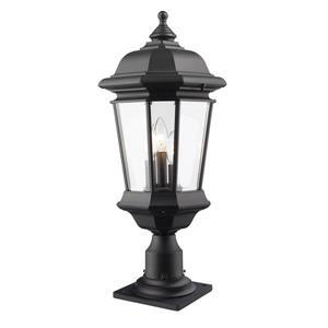 Luminaire extérieur sur socle Melbourne, 3 lumières, Noir