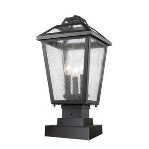 Z-Lite Bayland 3 Light Outdoor Pier Mount Light - Black - 9-in x 18.5-in