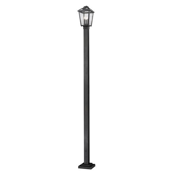 Luminaire extérieur sur poteau à 3 lumières Bayland, Noir