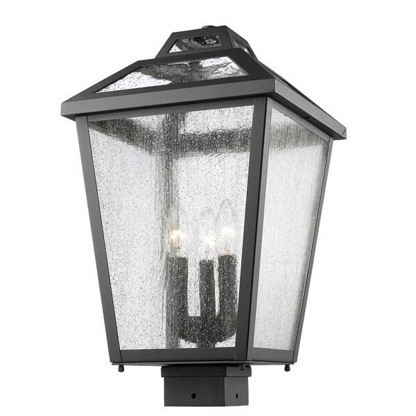 Luminaire extérieur pour poteau à 3 lumières Bayland, Noir
