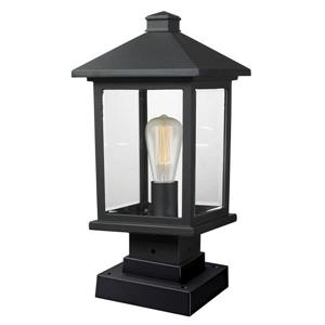Z-Lite Portland Outdoor Pier Mount Light - Black - 8-in x 16.88-in