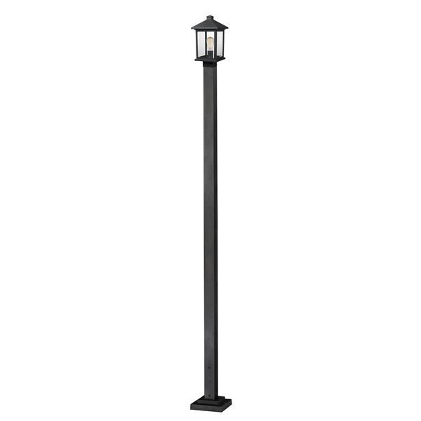 Z-Lite Portland 1 Light Outdoor Post Light - Black - 9.25-in x 109.38-in