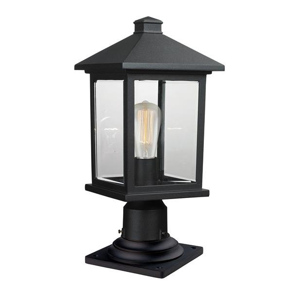 Z-Lite Portland Outdoor Pier Mount Light - Black - 8-in x 17.75-in