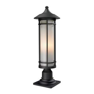 Z-Lite Woodland Outdoor Pier Mount Light - Black - 8.12-in x 24-in