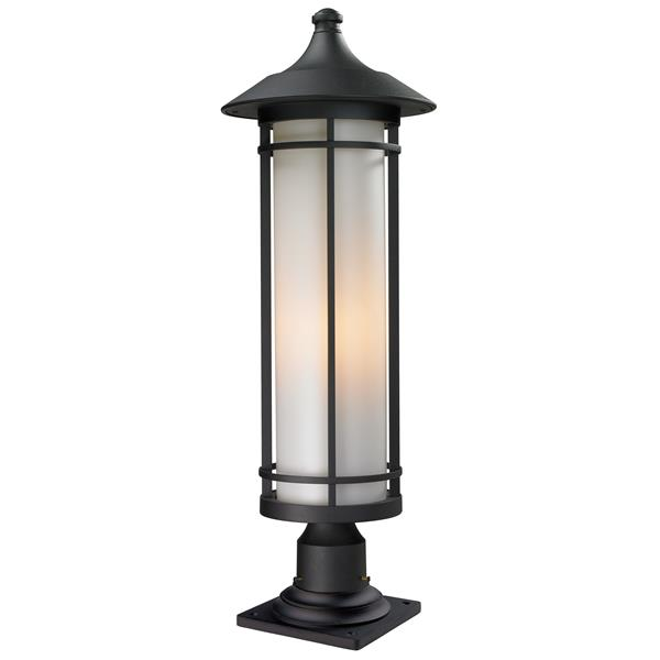 Z-Lite Woodland Outdoor Pier Mount Light - Black - 10-in x 29.75-in