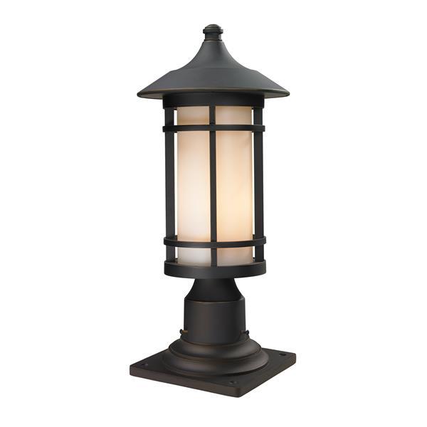 Z-Lite Woodland Outdoor Pier Mount Light - Bronze - 8.12-in x 18.38-in
