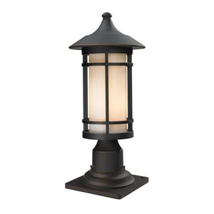 Z-Lite Woodland Outdoor Pier Mount Light - Bronze - 8.12-in x 18.38-in