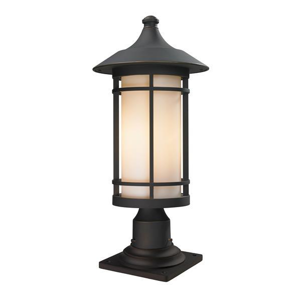 Z-Lite Woodland Outdoor Pier Mount Light - Bronze -10-in x 22.38-in