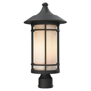 Z-Lite Woodland Outdoor Post Light - Bronze - 10-in x 20.62-in