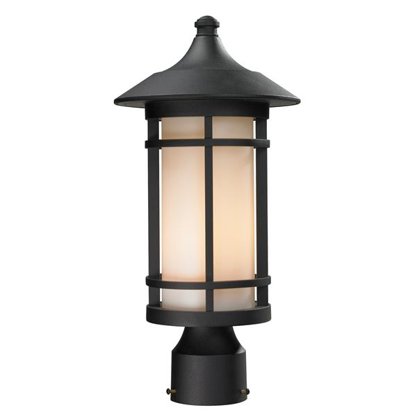 Z-Lite Woodland Outdoor Post Light - Black - 8.12-in x 16.62-in