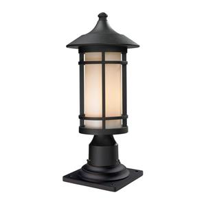 Z-Lite Woodland Outdoor Pier Mount Light - Black - 8.1-in x 18.38-in