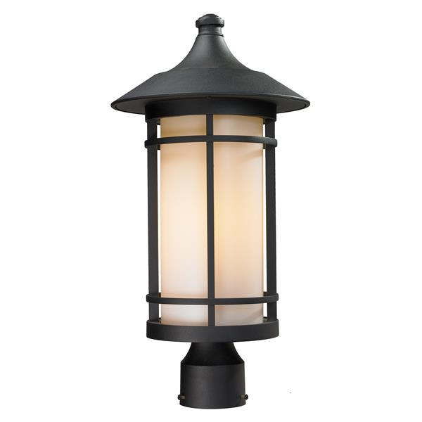 Z-Lite Woodland Outdoor Post Light - Black - 10-in x 20.62-in