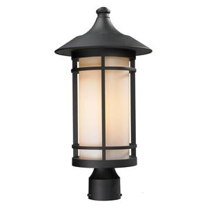 Z-Lite Woodland Outdoor Post Light - Black - 10-in x 20.62-in