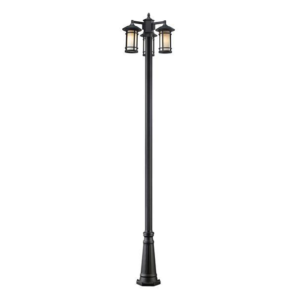 """Luminaire extérieur sur poteau Woodland, Noir,  24""""x100"""""""