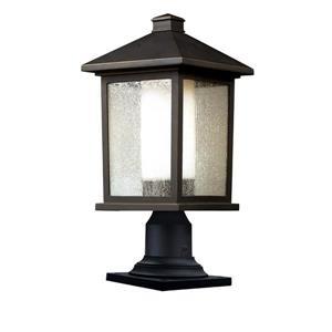 """Luminaire extérieur sur socle Mesa, Bronze,  9.5""""x20.25"""""""
