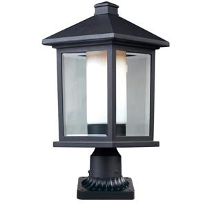Z-Lite Mesa Outdoor Pier Mount Light - Black - 9.5-in x 21.5-in
