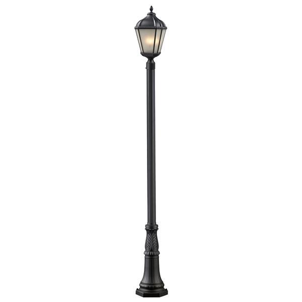 """Luminaire extérieur sur poteau Waverly, Noir, 13""""x119.25"""""""