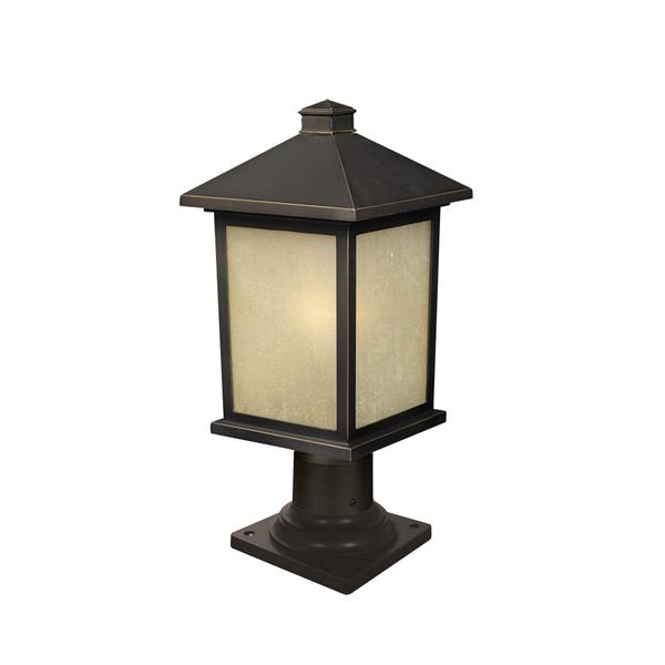 Z-Lite Holbrook Outdoor Post Light - Oil Rubbed Bronze - 8-in x 17.75-in