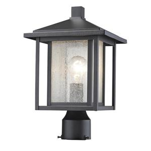 Z-Lite Aspen 1 Light Outdoor Post Mount Fixture - Black - 9-in x 14.75-in