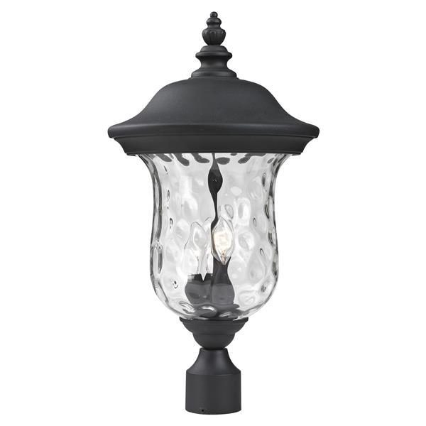"""Luminaire extérieur sur poteau Armstrong, Noir, 12.38""""x23.5"""""""