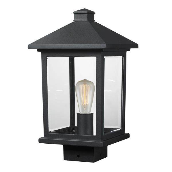 Z-Lite Portland 1 Light Post Mount Light - Black - 8-in x 14.38-in