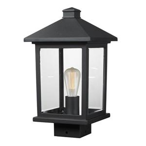 Z-Lite Portland 1 Light Post Mount Light - Black - 8-in x 14.38-in