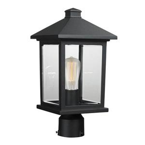 Z-Lite Portland 1 Light Post Mount Light - Black - 8-in x 16-in