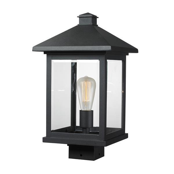 Z-Lite Portland 1 Light Post Mount Light - Black - 9.5-in x 17-in