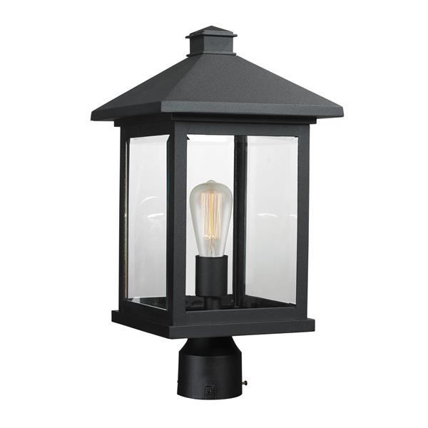 """Luminaire extérieur pour poteau Portland, Noir, 9.5""""x18.5"""""""