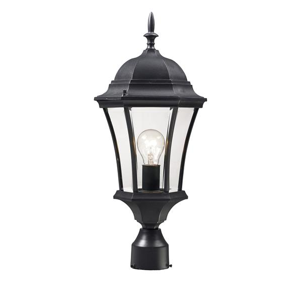 Z-Lite Wakefield Outdoor Post Light - 1 Light - Black - 9.5-in x 22-in