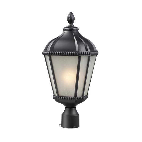 """Luminaire pour poteau extérieur Waverly, Noir, 9""""x 23.25"""""""