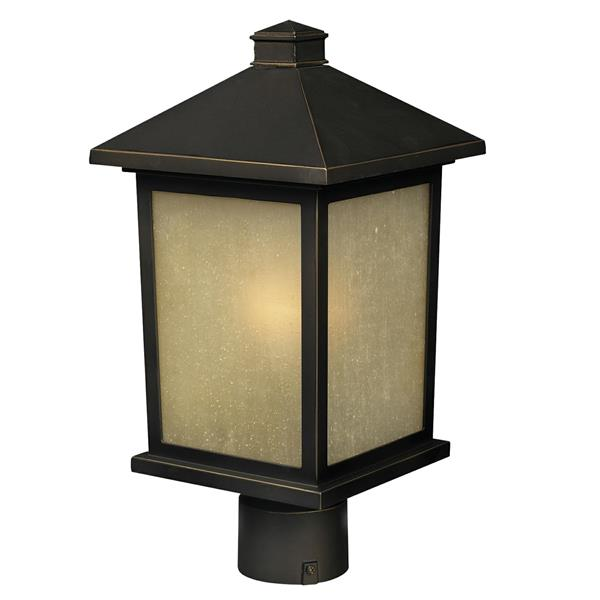 Z-Lite Holbrook Outdoor Post Light - Oil Rubbed Bronze- 8-in x 16-in