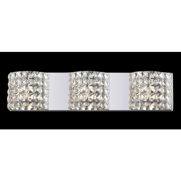 Z-Lite Panache 3.54-in x 5.11-in 3-Light Chrome Crystal Vanity Light