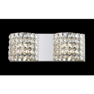Z-Lite Panache 3.54-in x 5.11-in 2-Light Chrome Crystal Vanity Light