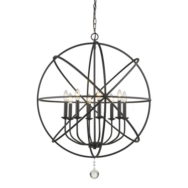 Z-Lite Tull 30-in Matte Black 8-Light Chandelier