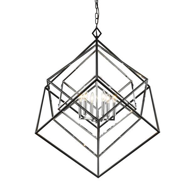 Z-Lite Euclid Chome and Matte Black 6-Light Chandelier