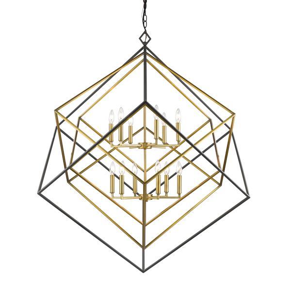 Lustre à 12 lumières Euclid, laiton antique et bronze