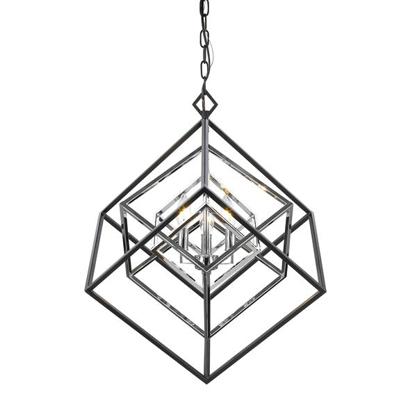 Z-Lite Euclid Chrome and Matte Black 3-Light Chandelier