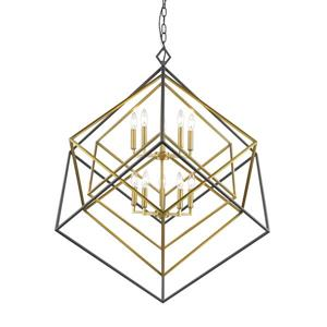Euclid Antique Brass and Bronze 10-Light Chandelier