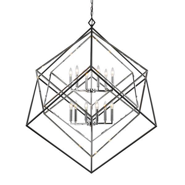 Lustre à 12 lumières Euclid, chrome + noir mat