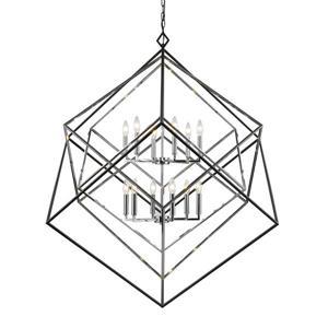 Euclid Chrome and Black 12-Light Chandelier