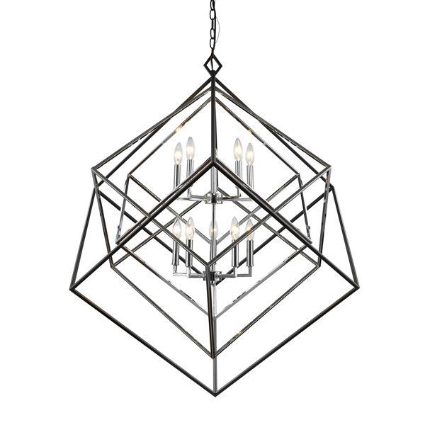 Z-Lite Euclid Chrome and Black 10-Light Chandelier