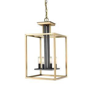 Lustre à 4 lumières Quadra, laiton antique et bronze