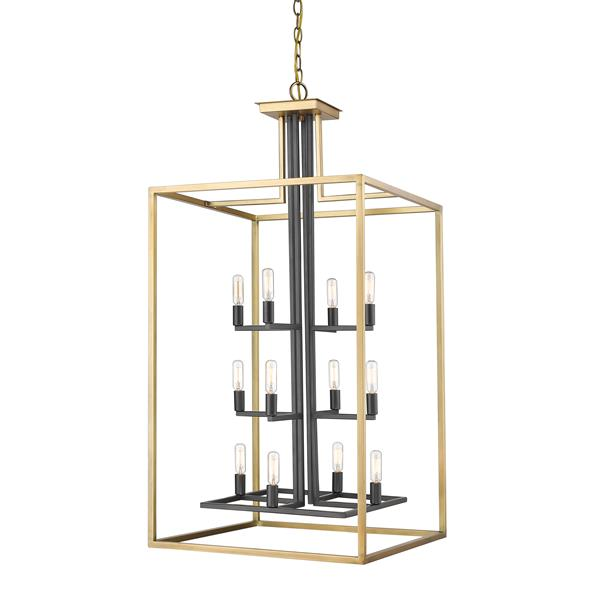 Z-Lite Quadra 12-Light Antique Brass-Bronze Chandelier