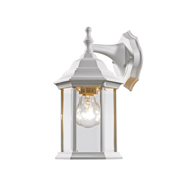 Z-Lite Waterdown 11.75-in Gloss White Beveled Hexagon Outdoor Wall Sconce